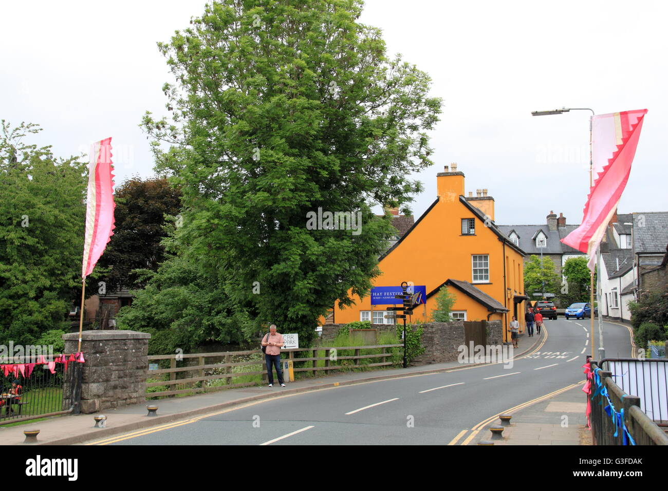 Bridge Street, Hay-on-Wye, Powys, Wales, Great Britain, United Kingdom, UK, Europe - Stock Image