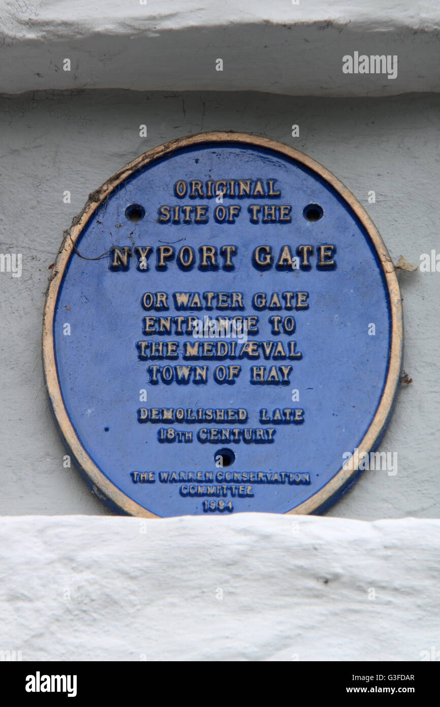 Plaque marking site of Nyport Gate, Newport Street, Hay-on-Wye, Powys, Wales, Great Britain, United Kingdom, UK, - Stock Image