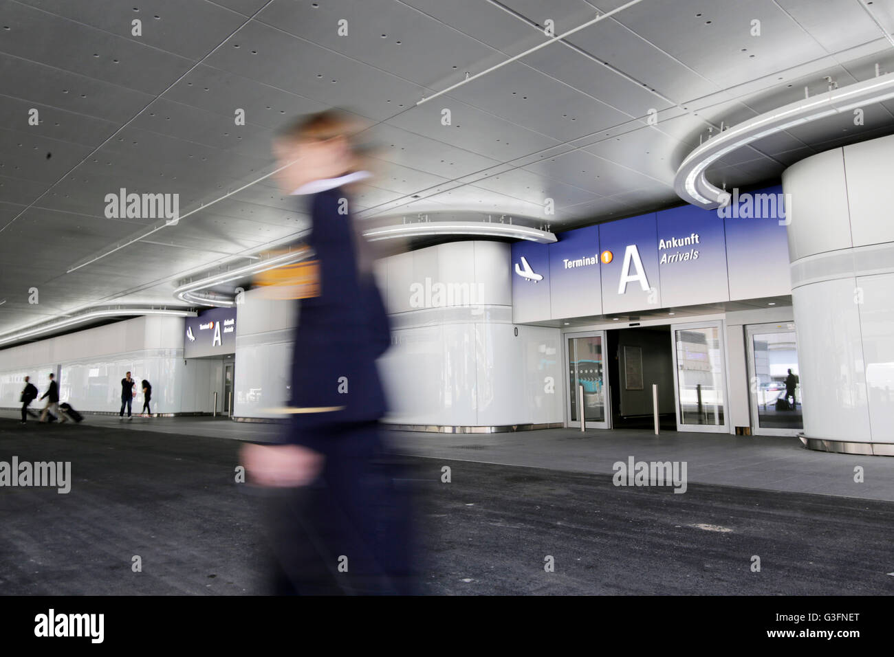 The newly designed facade of the arrival area at terminal 1 of the airport in Frankfurt/Main, GErmany, 9 June 2016. - Stock Image