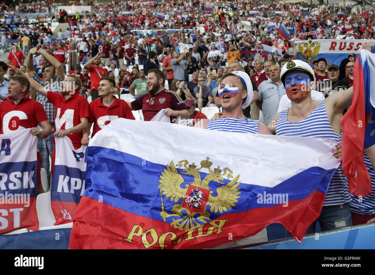 MARSEILLE, FRANCE - JUNE 11, 2016: Russian fans seen ahead of the 2016 UEFA European Championship Group B football - Stock Image