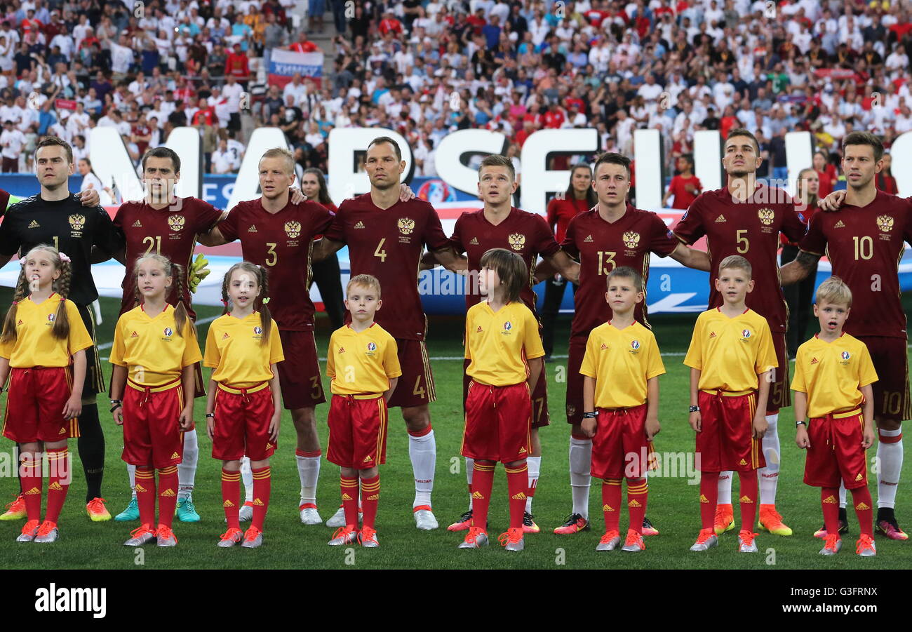 MARSEILLE, FRANCE - JUNE 11, 2016: Russia's players seen ahead of the 2016 UEFA European Championship Group - Stock Image