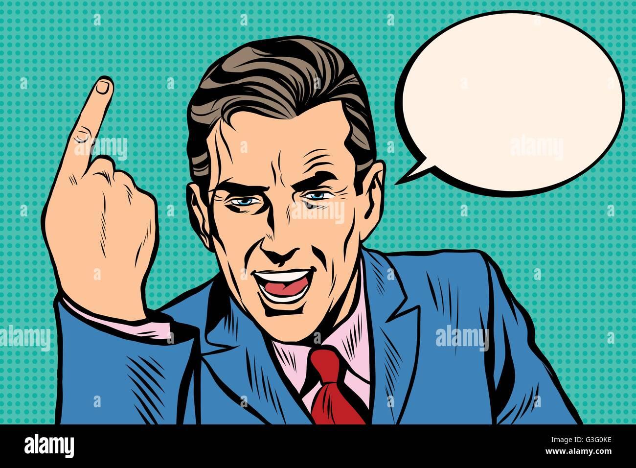 speaker businessman pointing finger pop art retro - Stock Vector