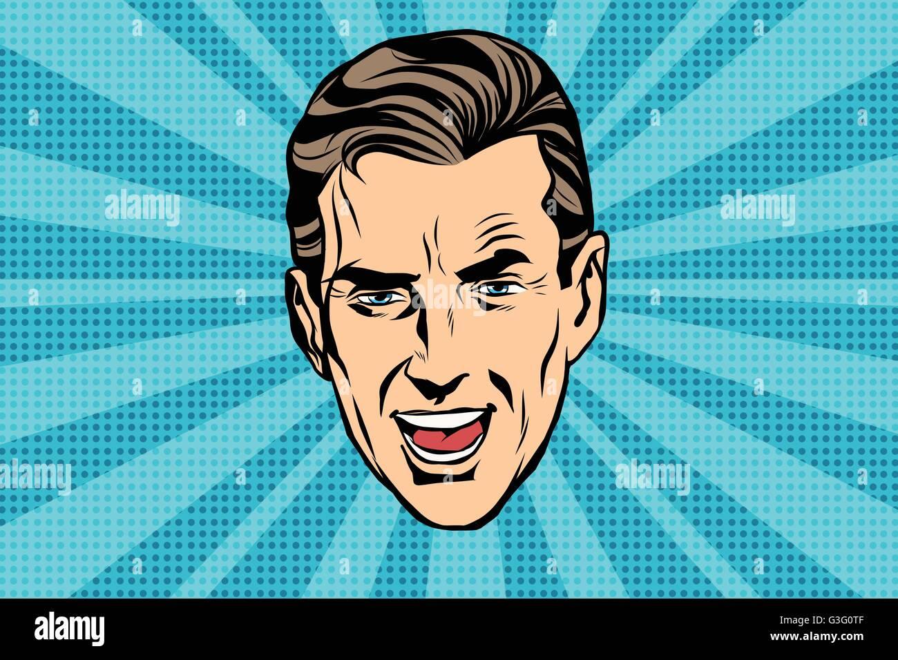 retro head man pop art poster - Stock Vector
