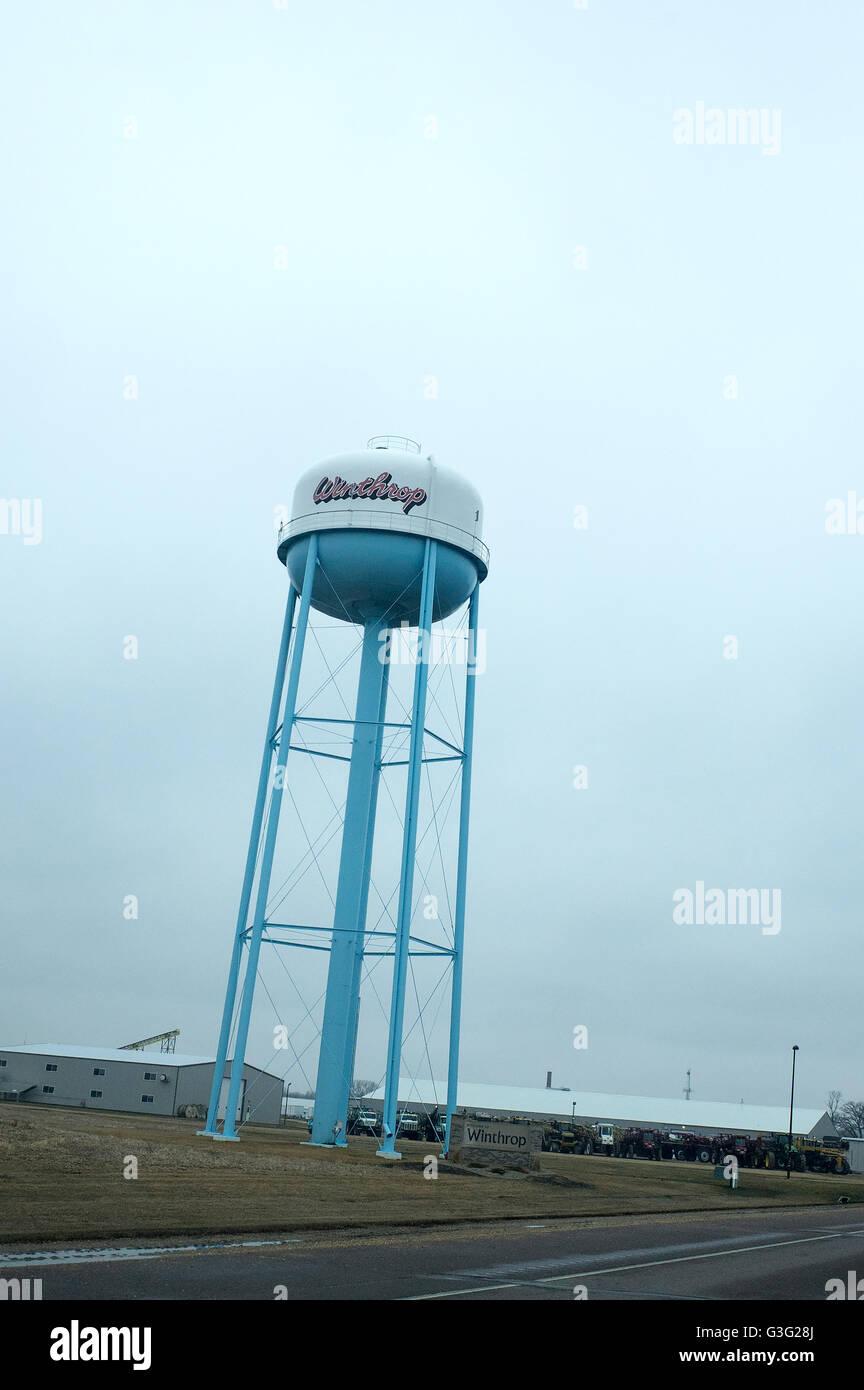 Water tower. Winthrop Minnesota MN USA - Stock Image