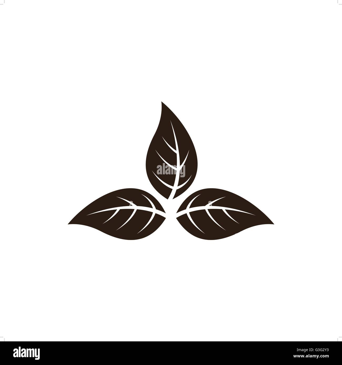 Brown tobacco leaves vector illustration isolated on white background. - Stock Vector