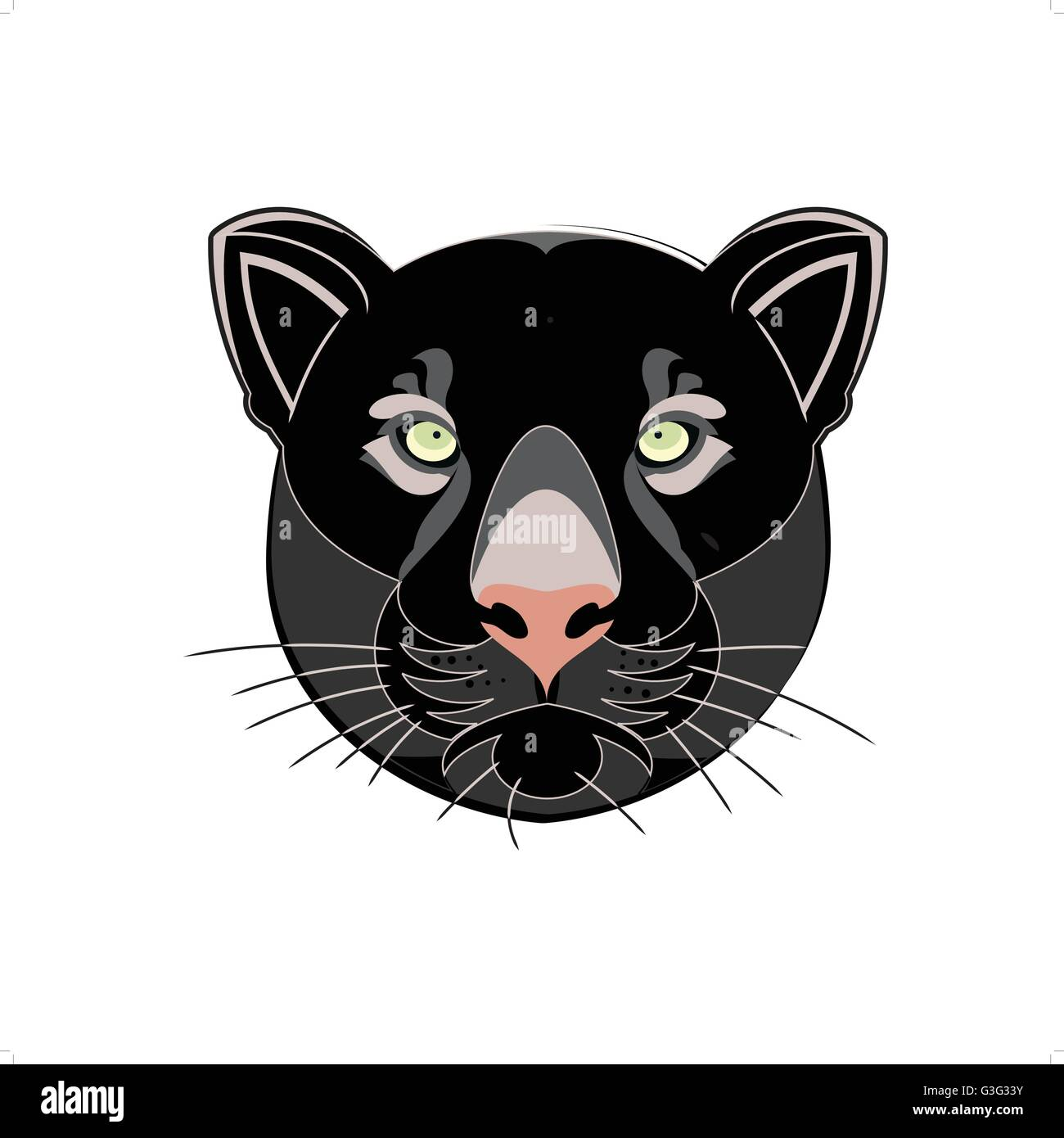 cb604f6f074 Beautiful black panther head silhouette vector illustration isolated on  white background.