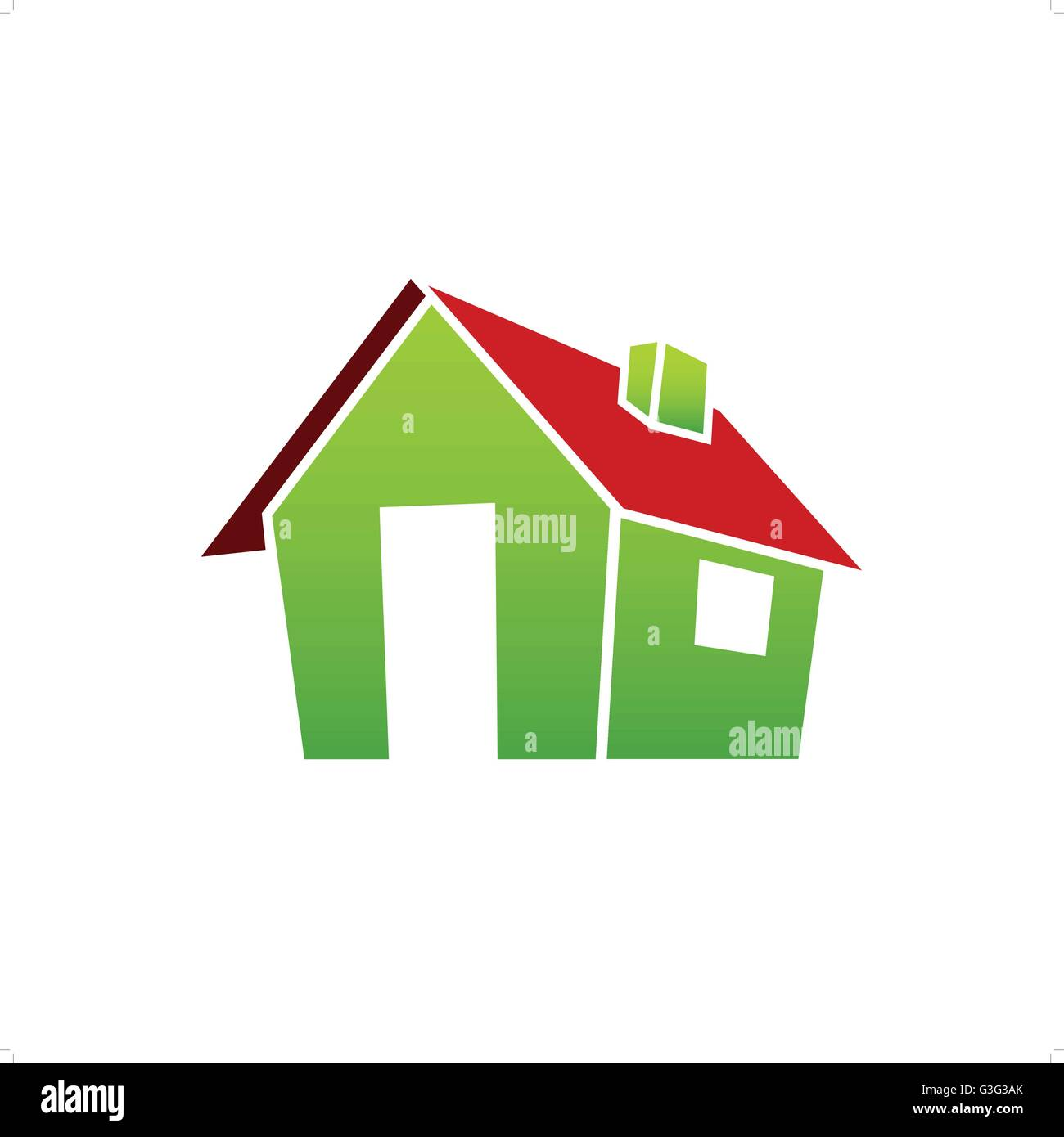 3D green village house with red roof vector illustration isolated on white background. - Stock Image