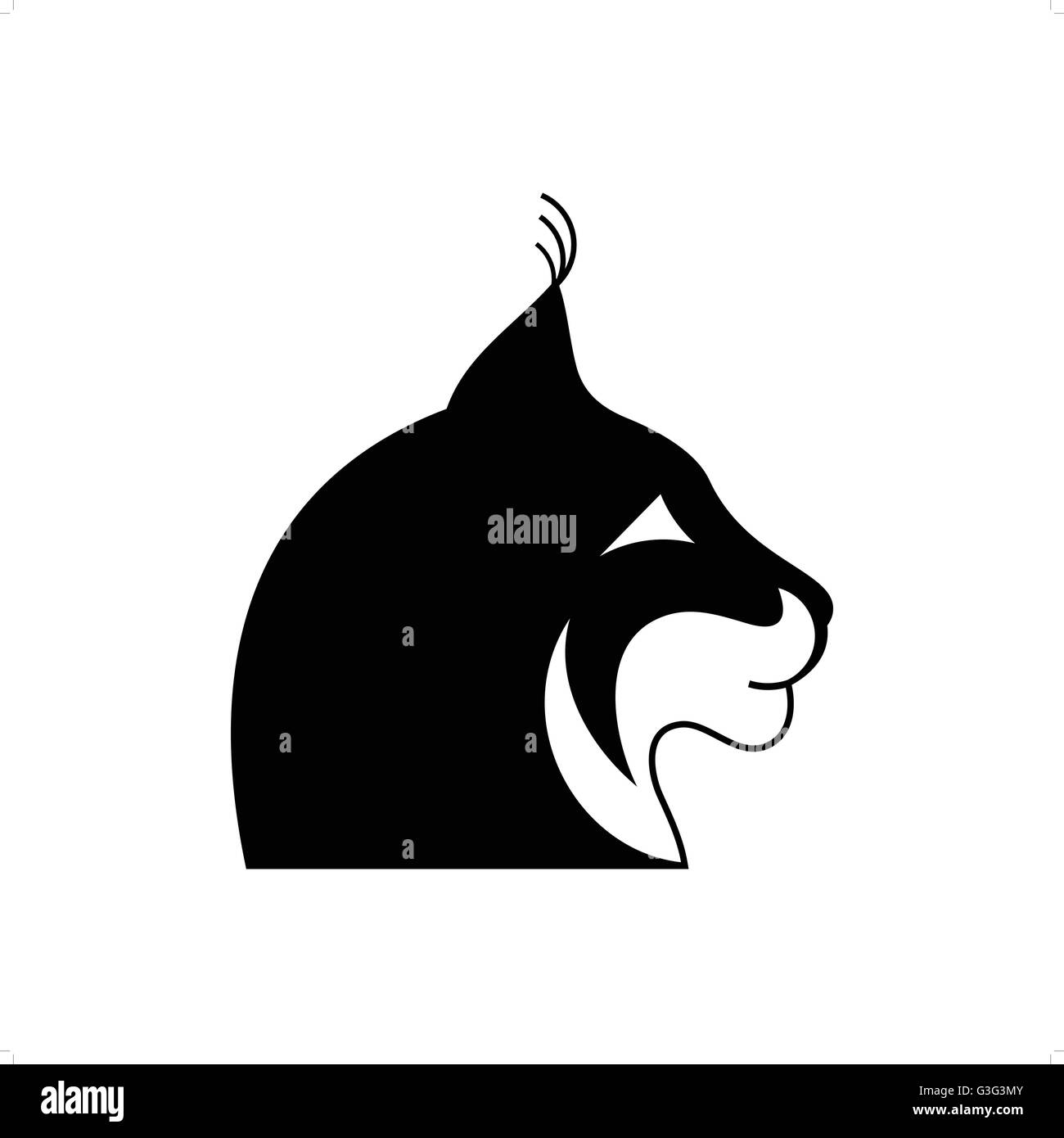 Stylized black and white lynx head tattoo vector illustration isolated on white background. - Stock Vector