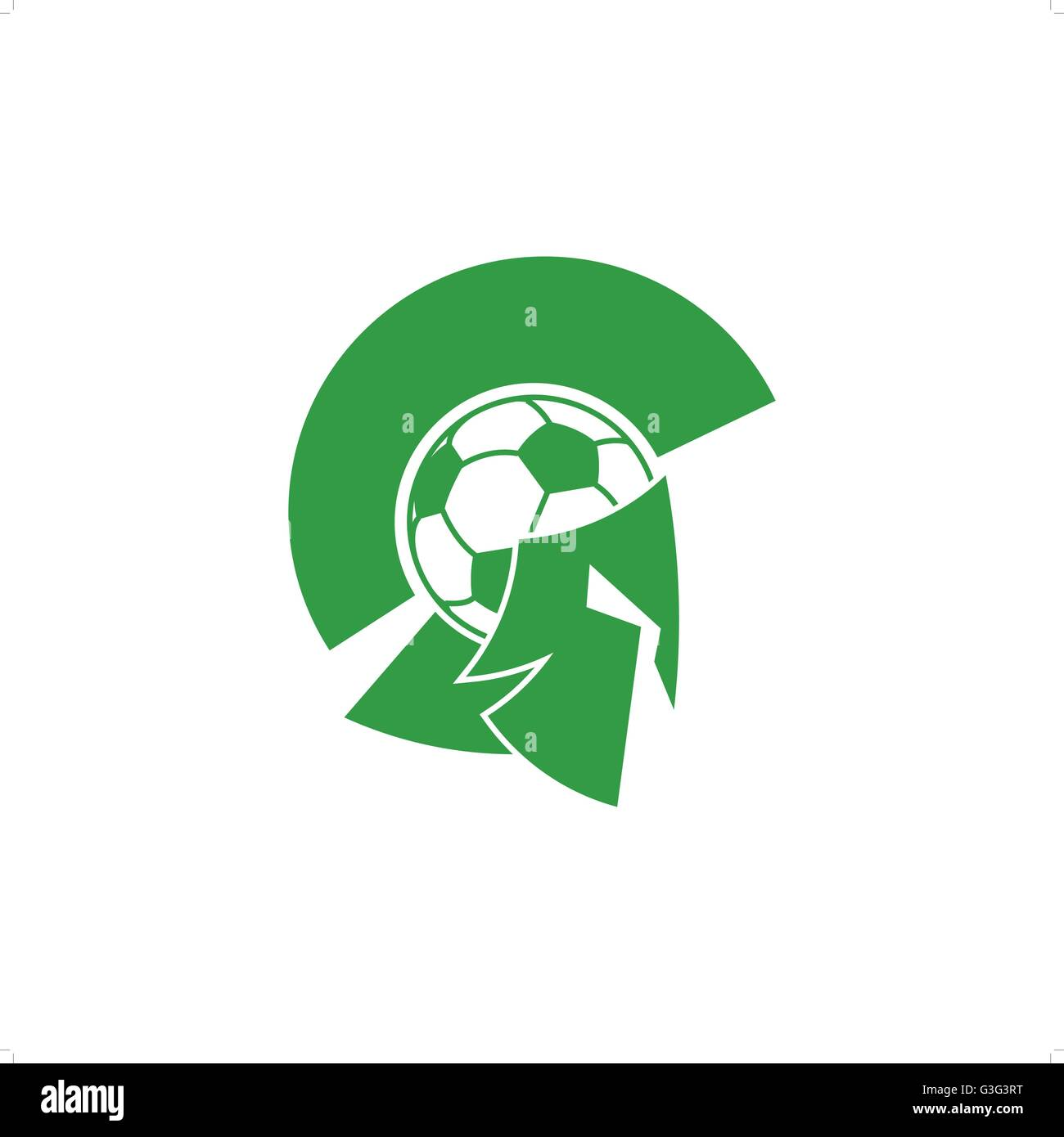Green soccer knight with ball like head and mask vector illustration isolated on white background. - Stock Vector