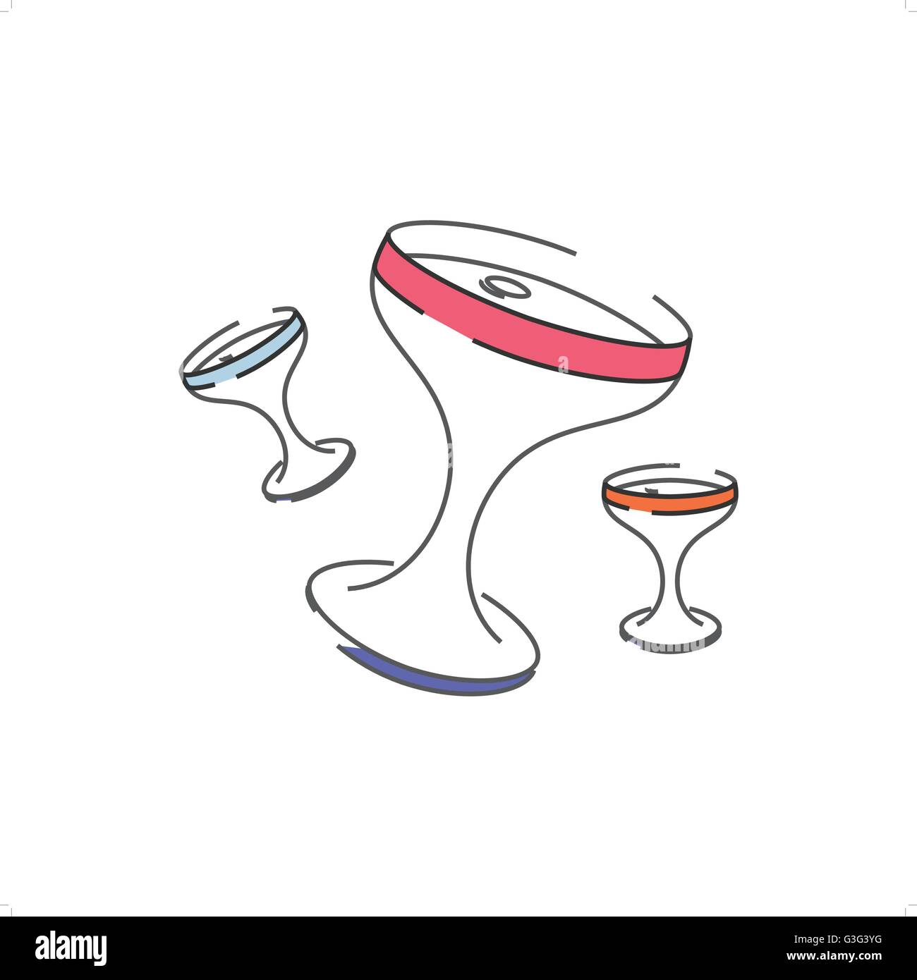 Stylized line drawing colorful celebration glasses vector illustration isolated on white background. - Stock Vector