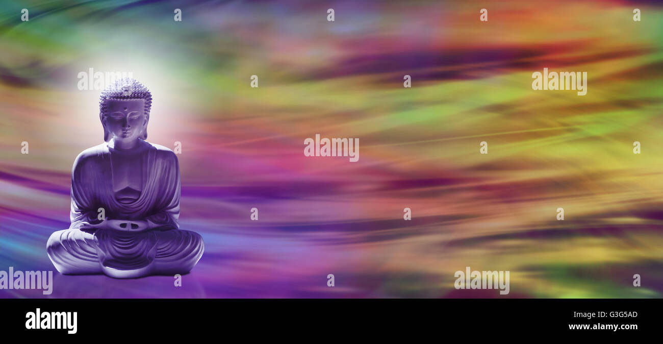 Spiritual Enlightenment - Wide banner with meditating Buddha
