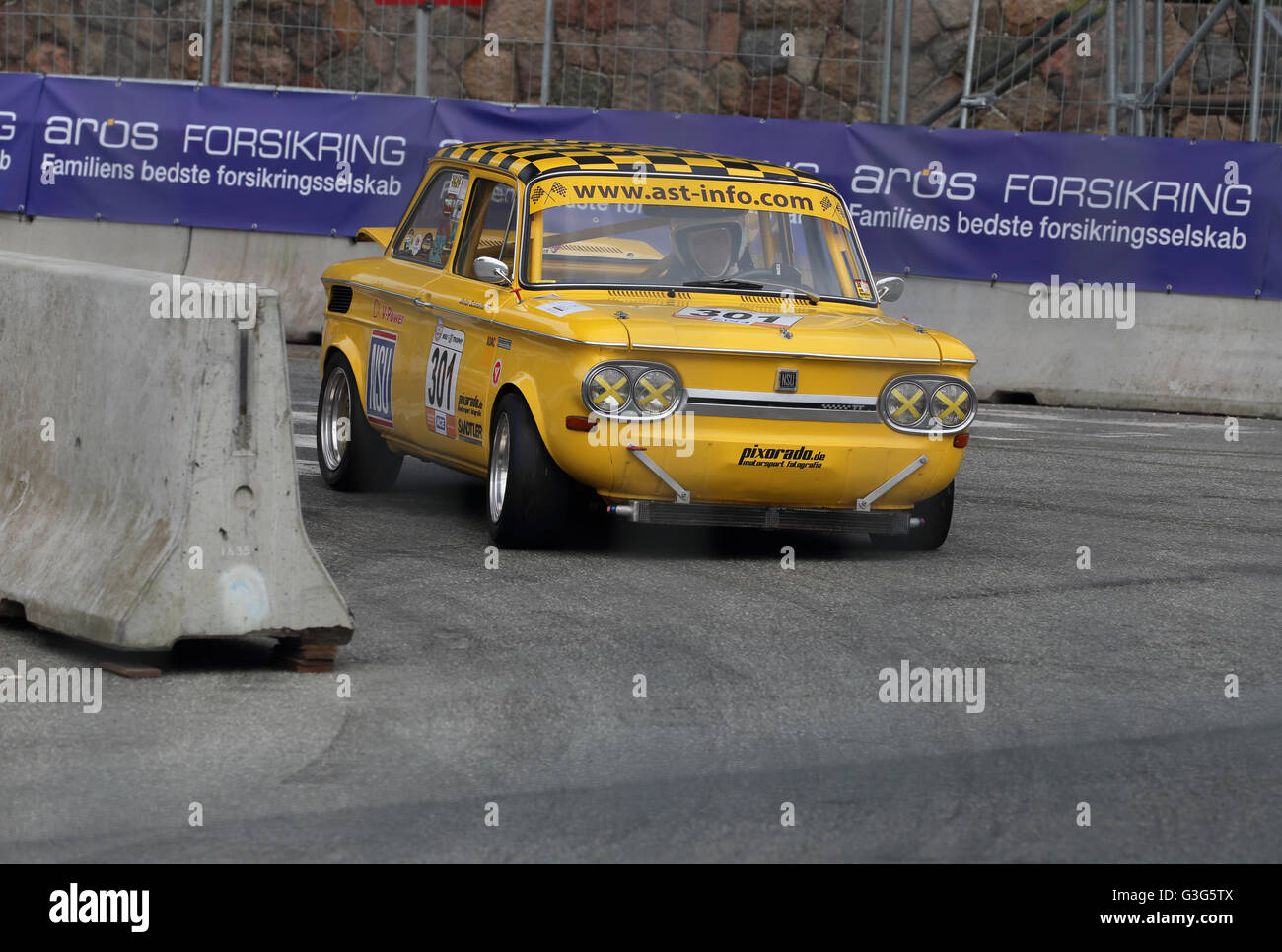 A NSU TT being raced at the classic car racing event Classic Race Aarhus in May 2016 - Stock Image