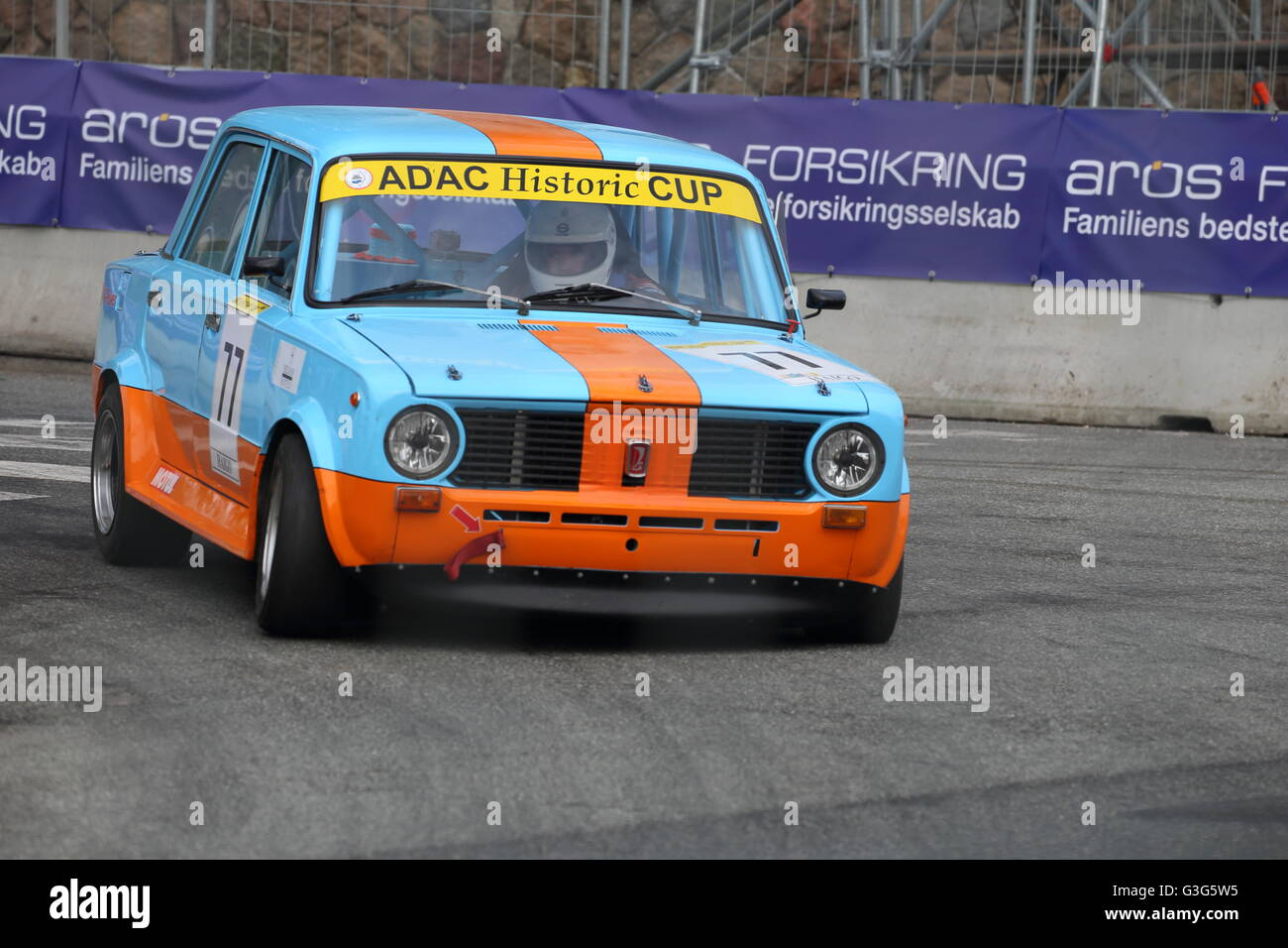 A Lada 2101 being raced at the classic car racing event Classic Race Aarhus in May 2016 - Stock Image