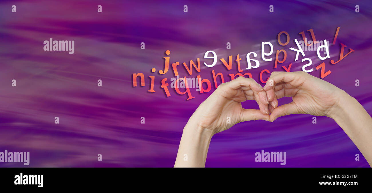 a pair of female hands making an eye mask shape with a cloud of letters behind and six characters reversed depicting - Stock Image
