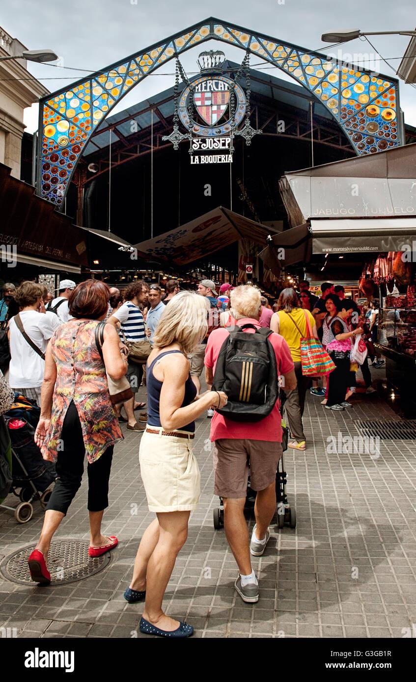 La Boqueria Market Entrance. Barcelona - Stock Image