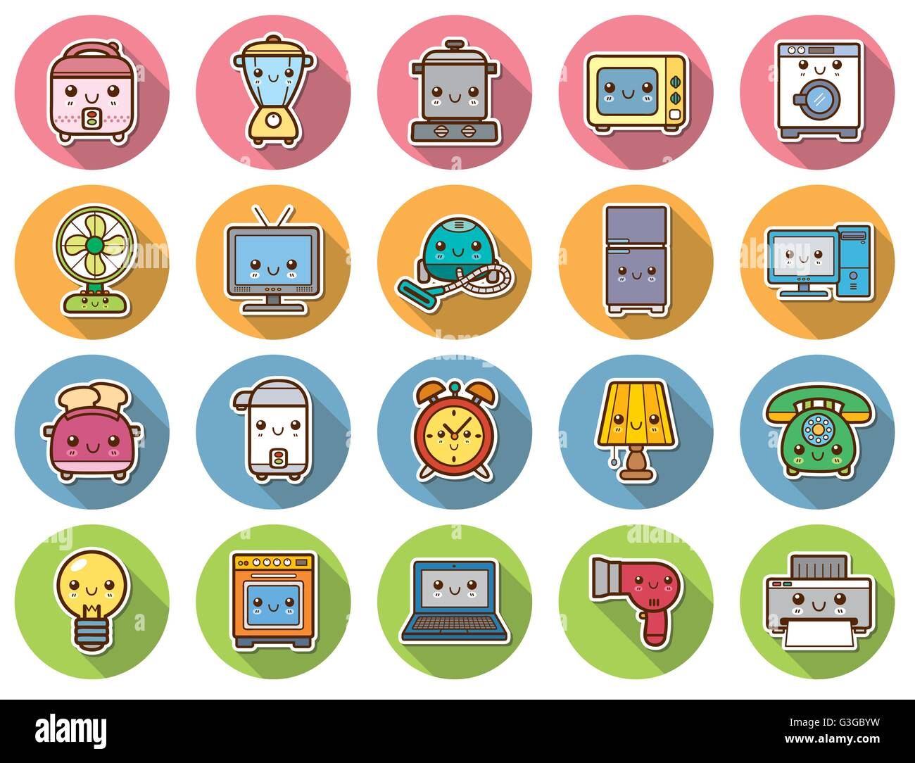 Vector Illustration of Home appliances and electronics - Stock Image