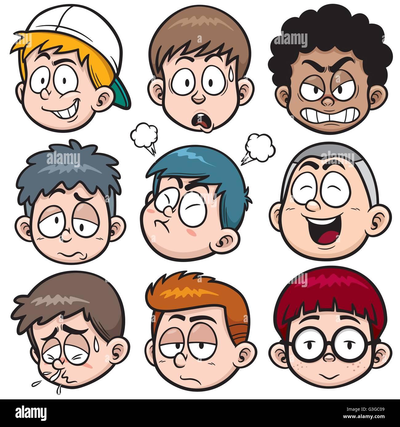 Vector illustration of Boy face cartoon set - Stock Vector