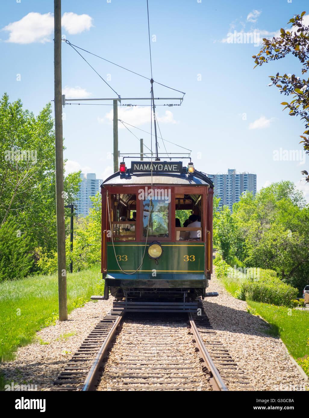 A view of the historic High Level Bridge Streetcar in Edmonton, Alberta, Canada.  (Edmonton Streetcar #33 shown). - Stock Image