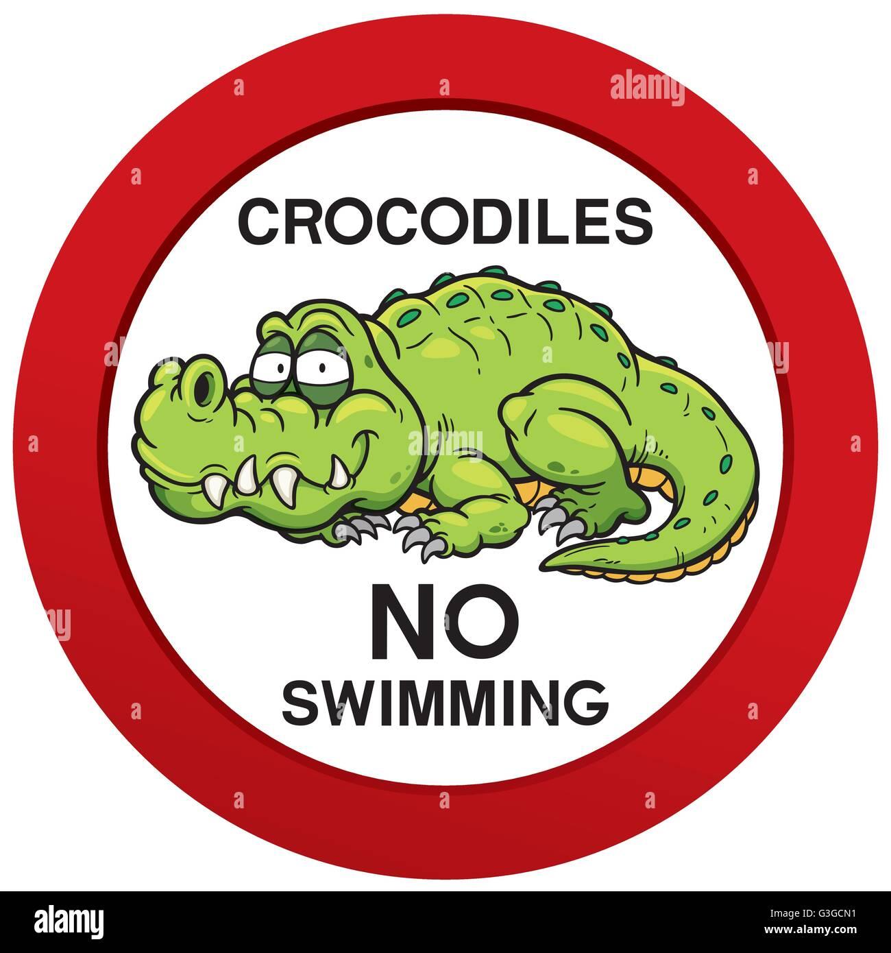 Vector illustration of danger crocodiles no swimming sign - Stock Vector
