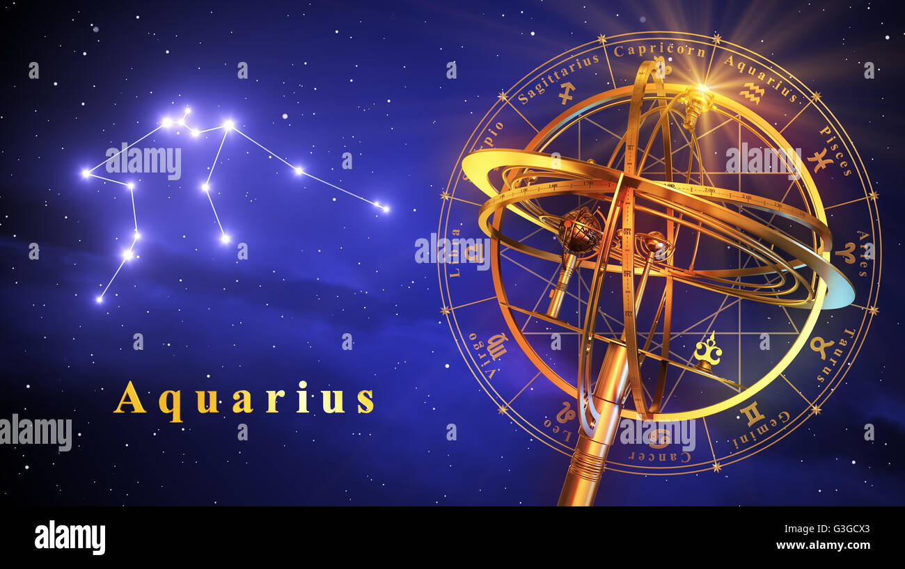 Armillary Sphere And Constellation Aquarius Over Blue Background - Stock Image