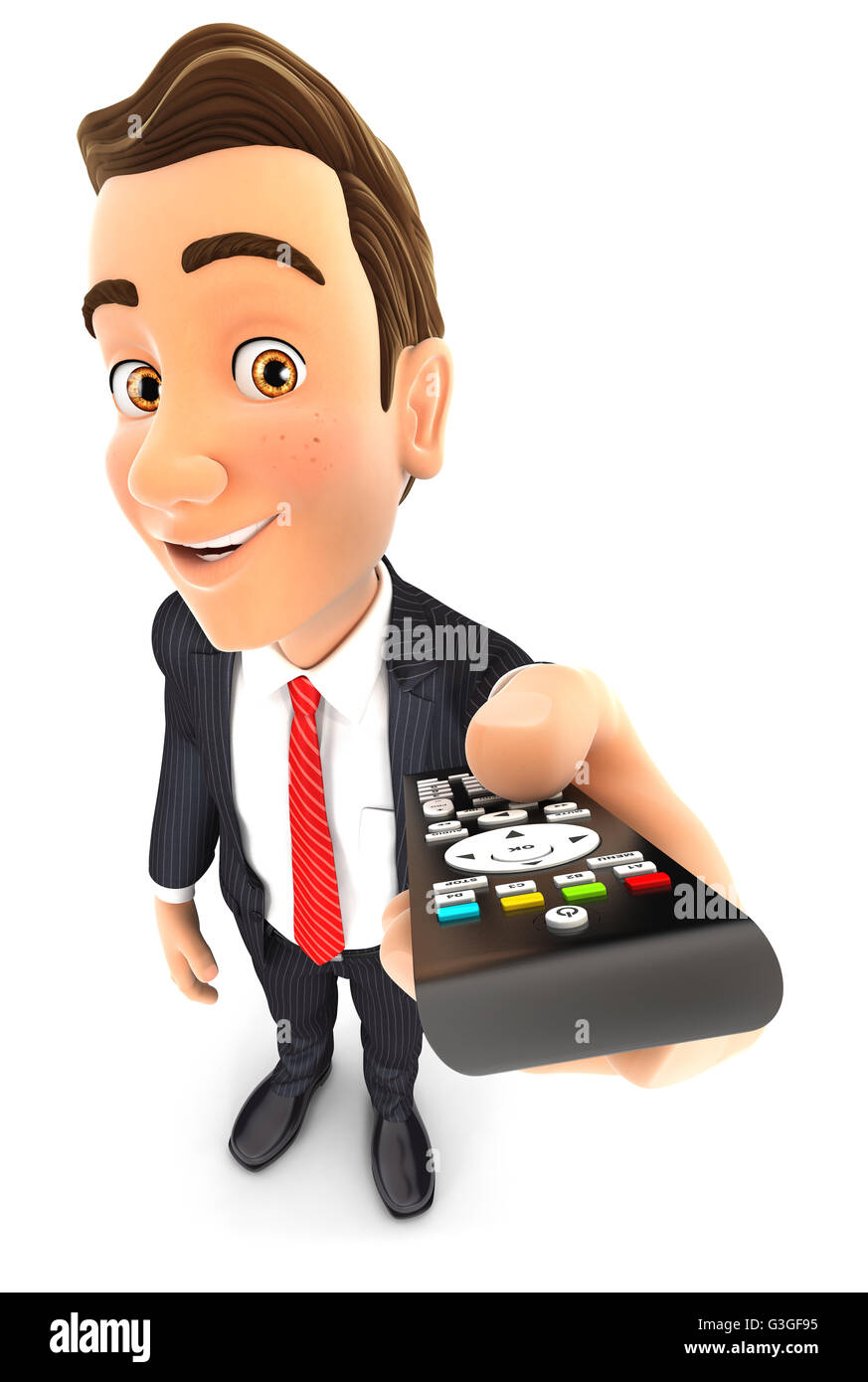 3d businessman holding television remote control, illustration with isolated white background Stock Photo