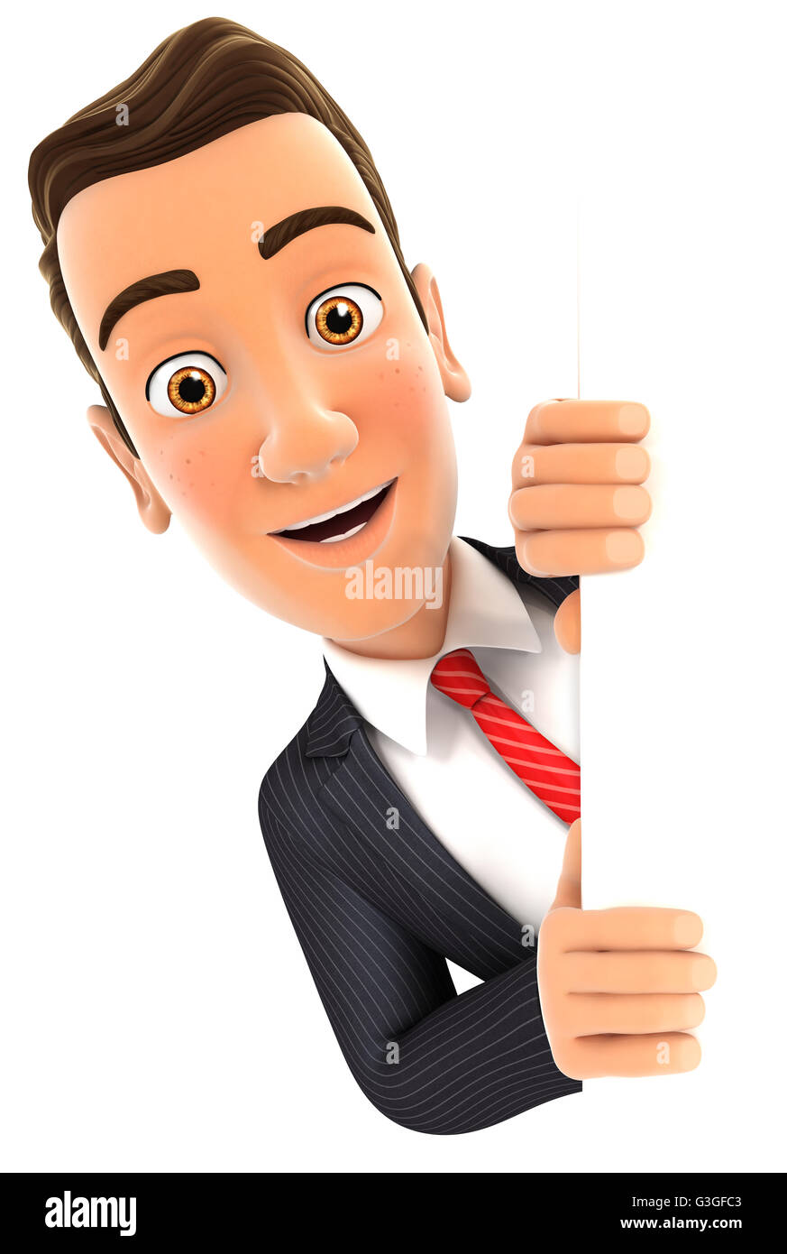 3d businessman peeping over blank wall, illustration with isolated white background Stock Photo