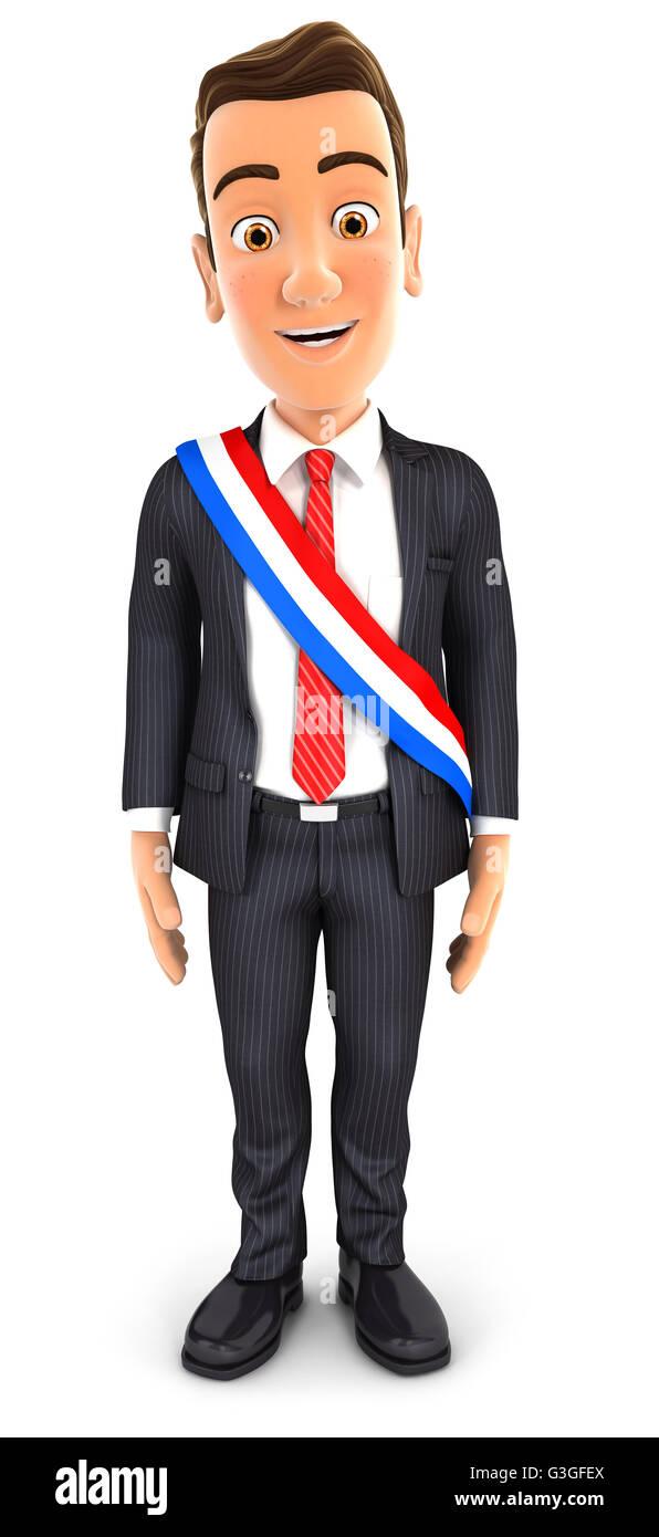 3d businessman wearing french mayoral sash, illustration with isolated white background Stock Photo