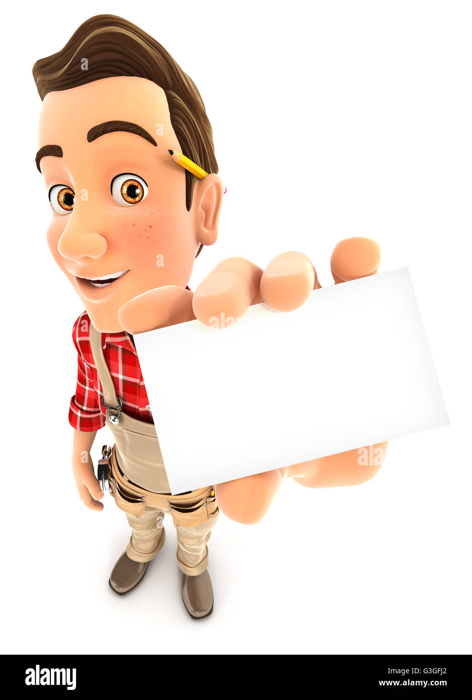 3d handyman holding company card, illustration with isolated white background Stock Photo