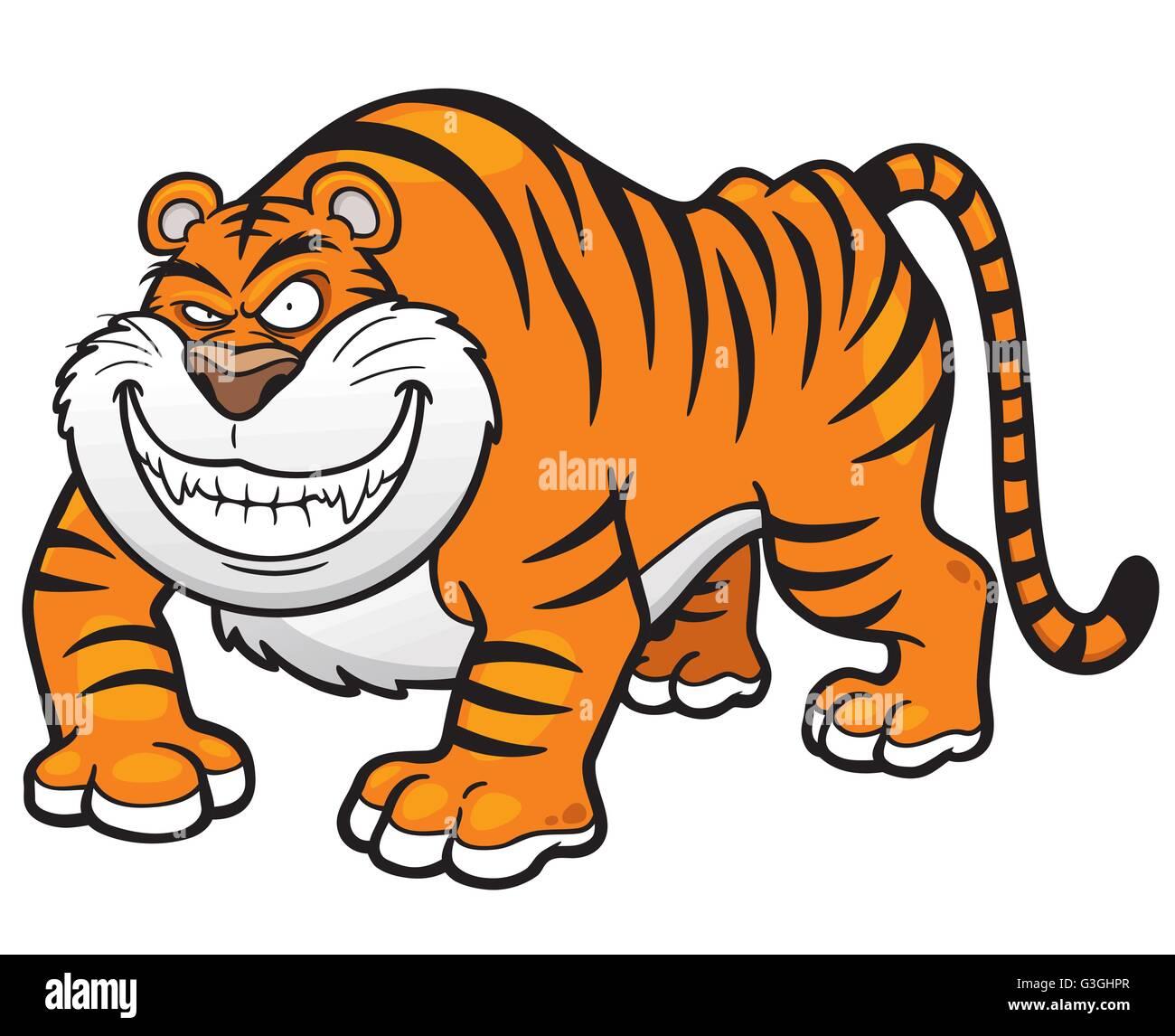 Vector illustration of Cartoon tiger - Stock Vector