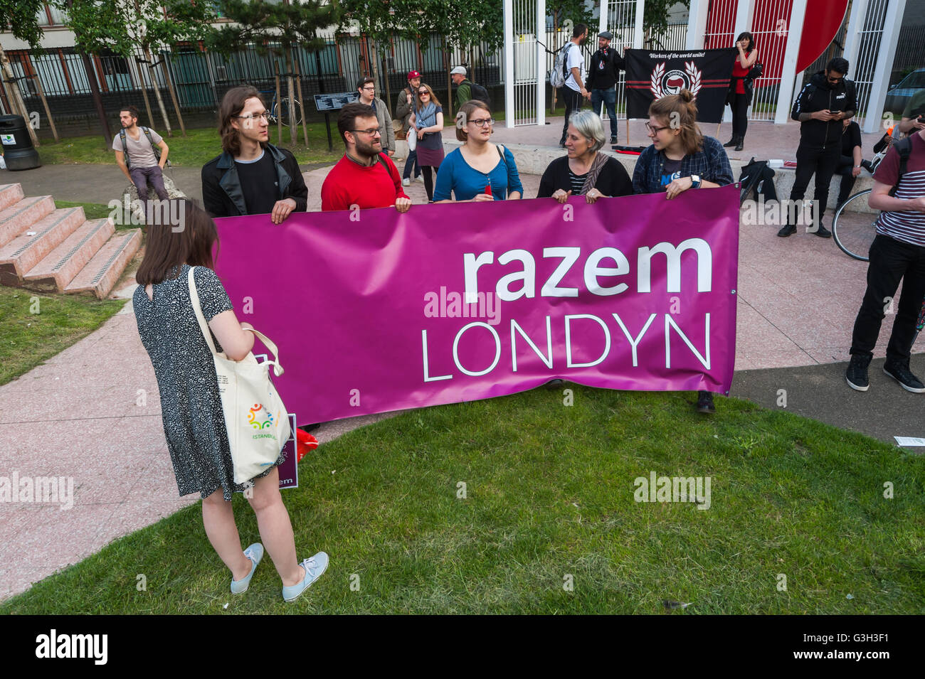 London, UK. June 24th 2016. Polish left-wing Razem Party members with banner at the rally in Altab Ali Park on the - Stock Image