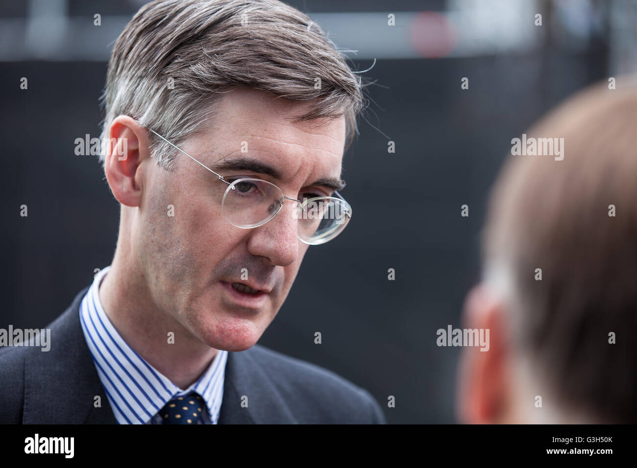 London, UK. 24th June, 2016. Jacob Rees-Mogg, Conservative MP for North East Somerset,  speaks to the media following - Stock Image