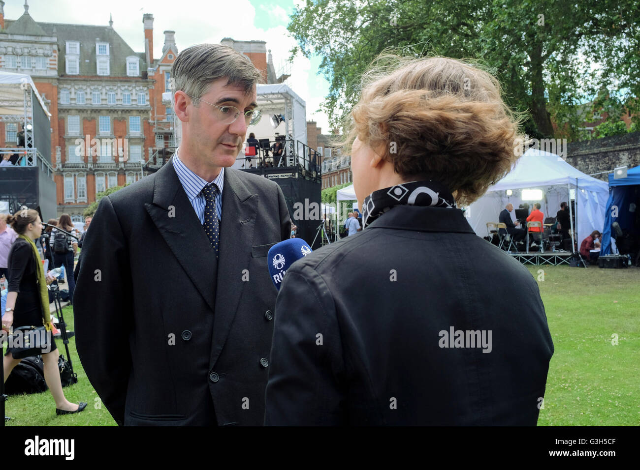 London, UK. 24 June 2016. Conservative MP, Jacob Rees-Mogg is interviewed by reporter following the result of UK - Stock Image