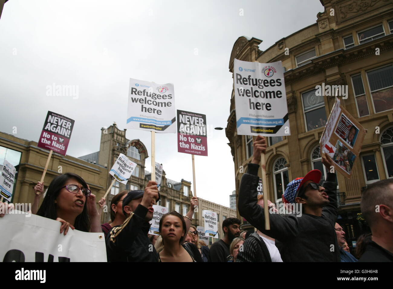 Newcastle upon Tyne, UK. 25th June, 2016. Newcastle Unites demonstration and rally against  EDL in Newcastle upon - Stock Image