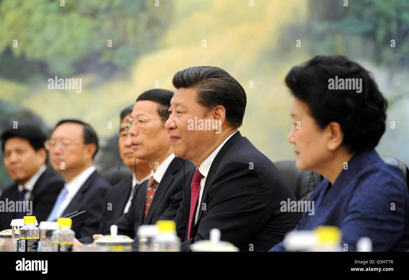 Beijing, China. 25th June, 2016. Chinese President Xi Jinping during talks with Russian President Vladimir Putin - Stock Image