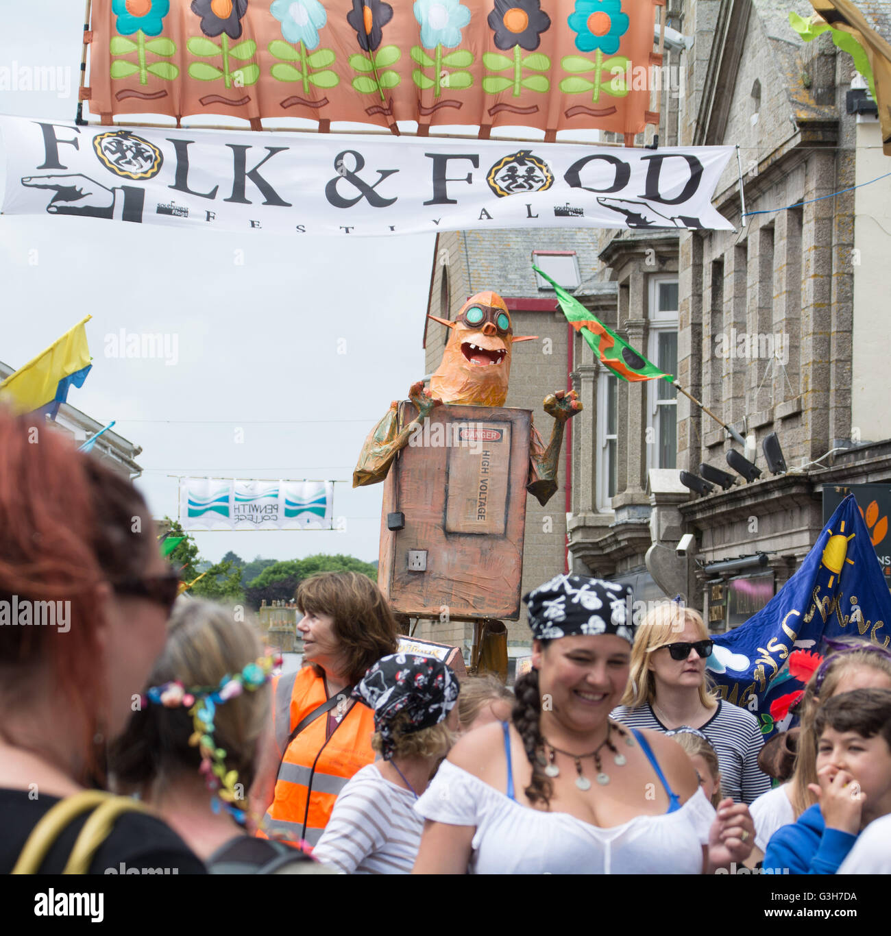 Penzance, Cornwall, UK. 24th June 2016. At the end of the Golowan ( Cornish for Midsummer)  festival at Penzance - Stock Image