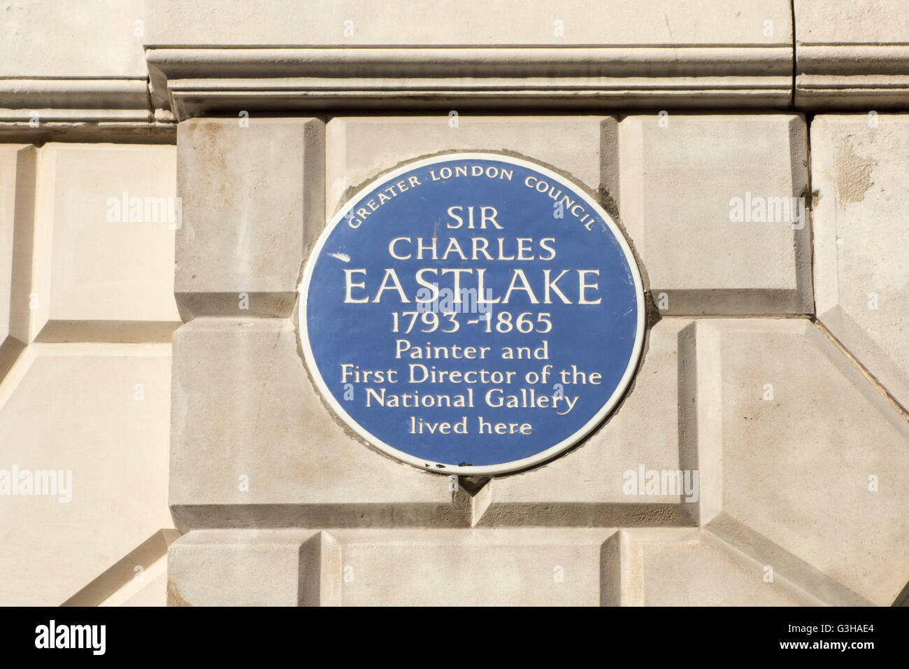 Blue Plaque, Sir Charles Eastlake, London, UK - Stock Image