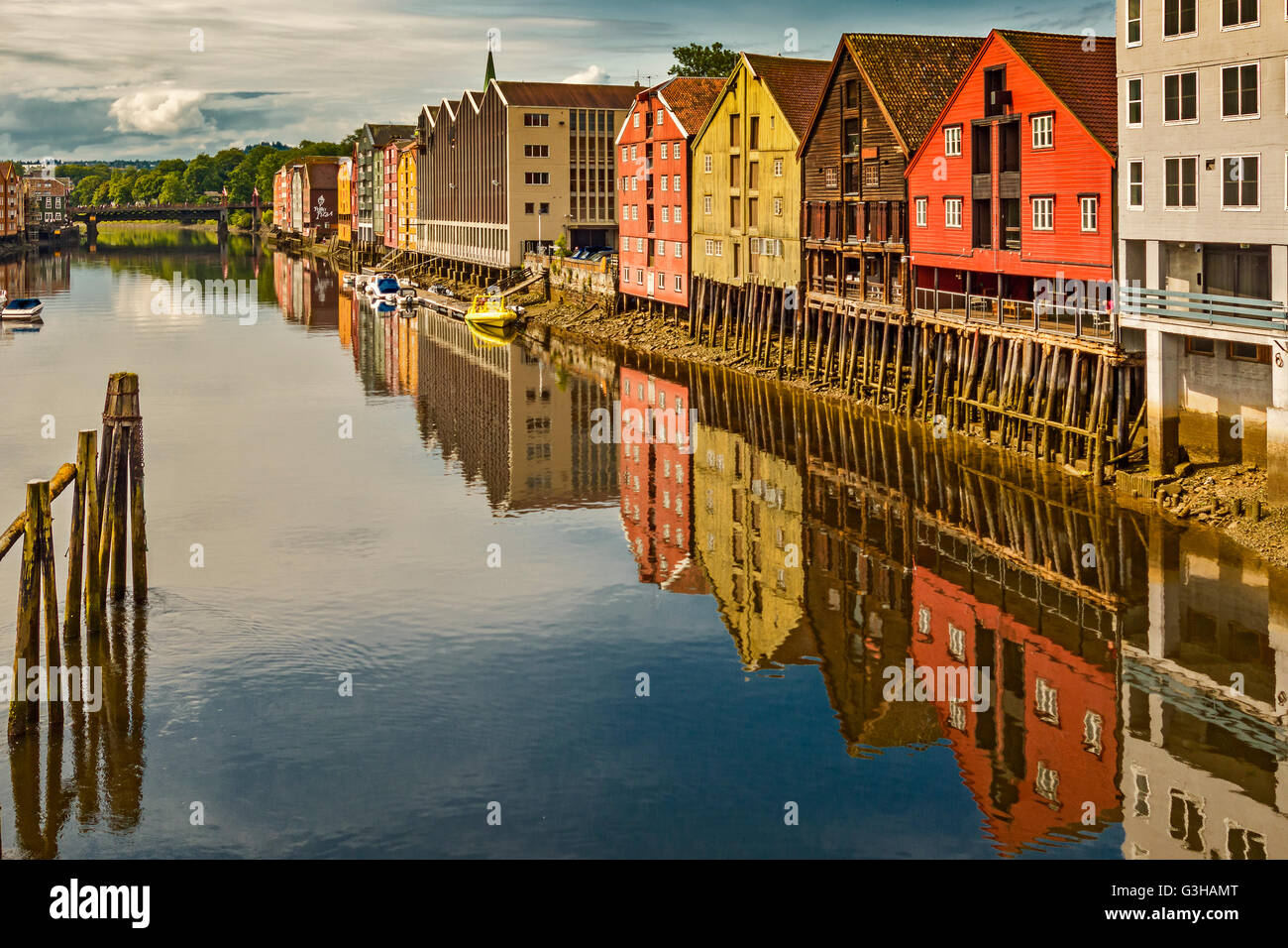 Wharves on the Nidelva River in Trondheim Norway - Stock Image