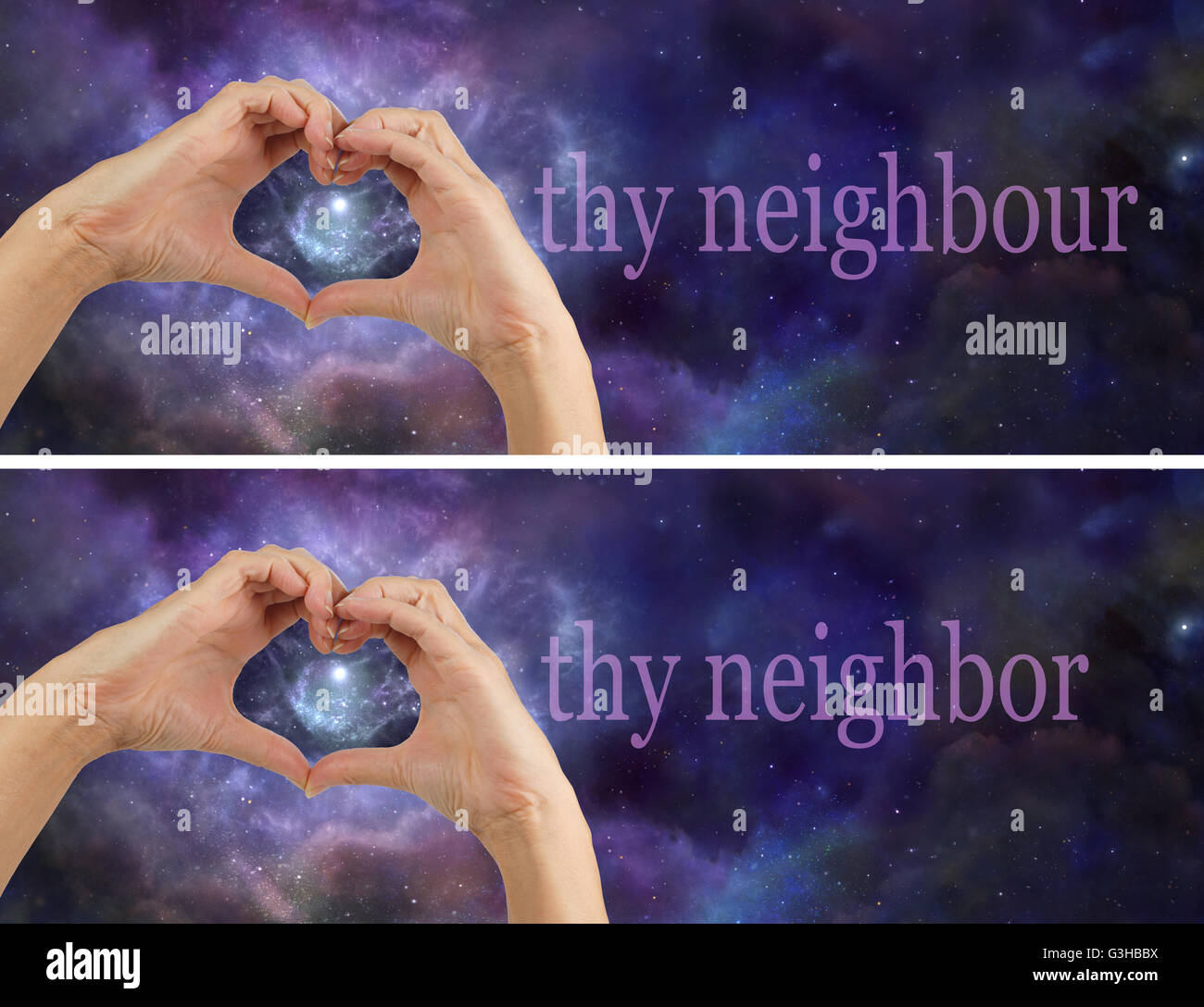 Female hands making a heart shape for LOVE and the words 'THY NEIGHBOUR / NEIGHBOR' beside on a night sky - Stock Image