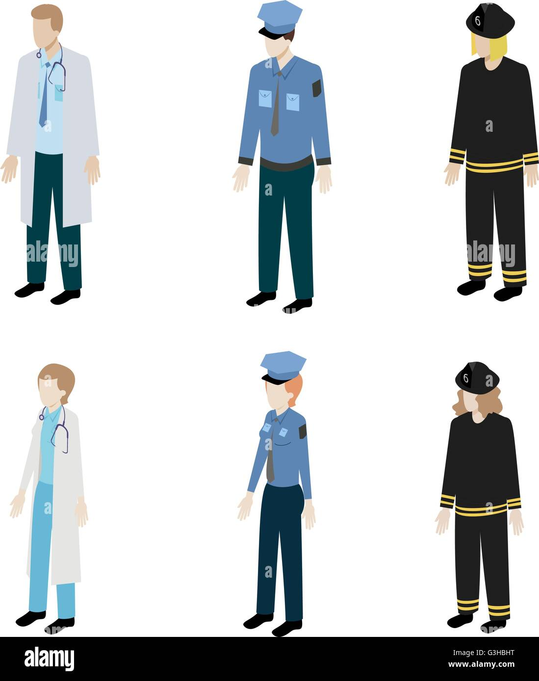 Set occupations police, firefighters and doctors - Stock Image