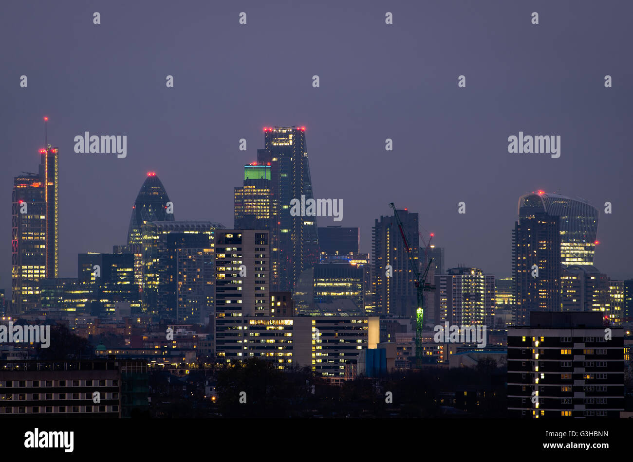 London, city skyline from Parliament Hill - Stock Image