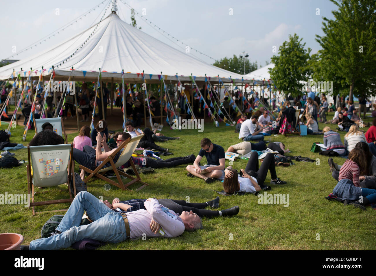 A general view at Hay Festival of literature and arts in Hay-on-Wye, Wales. - Stock Image