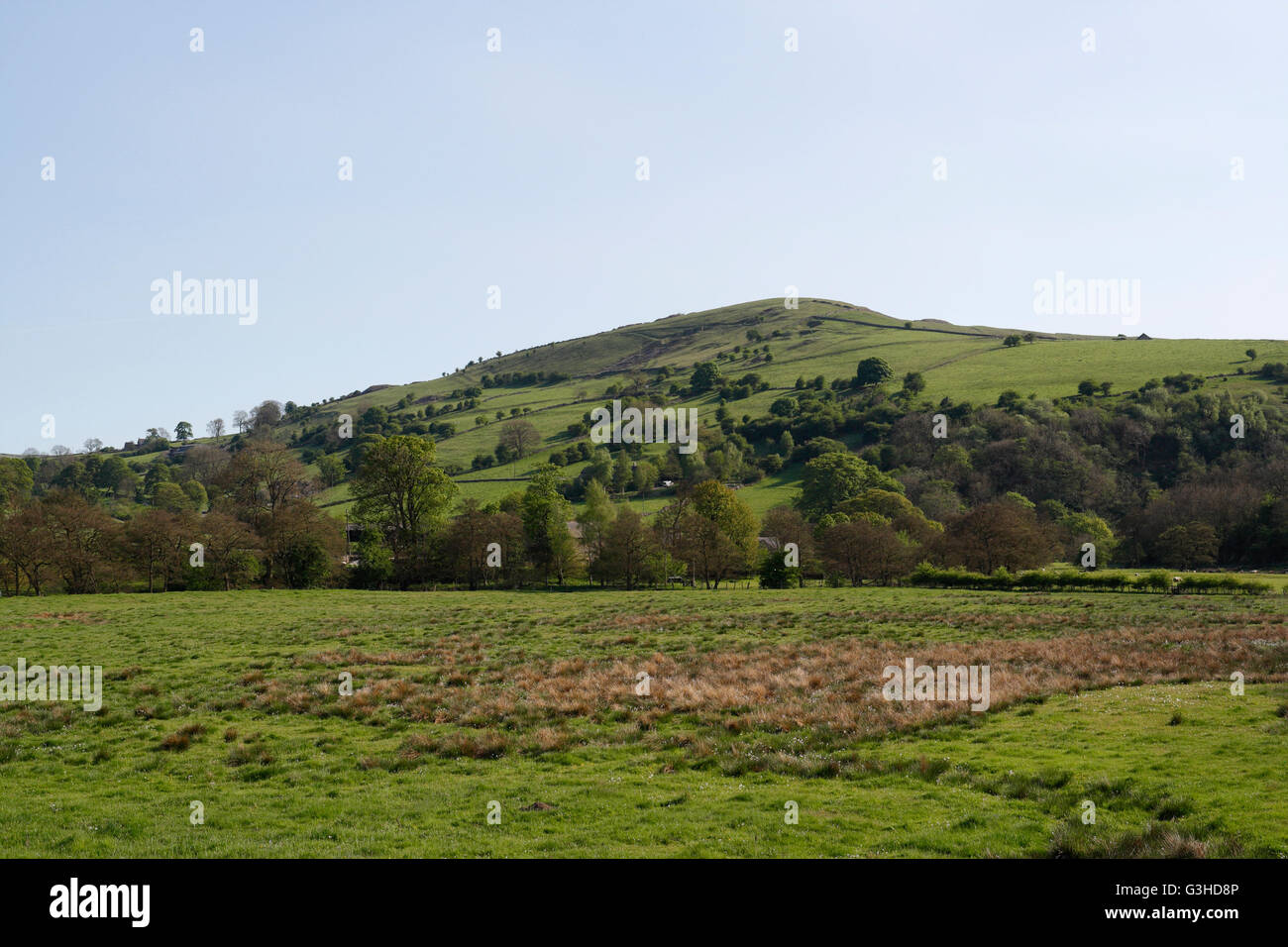 Ecton Hill Staffordshire in the Peak District, viewed from Hulme End on the Manifold Trail. UK Stock Photo