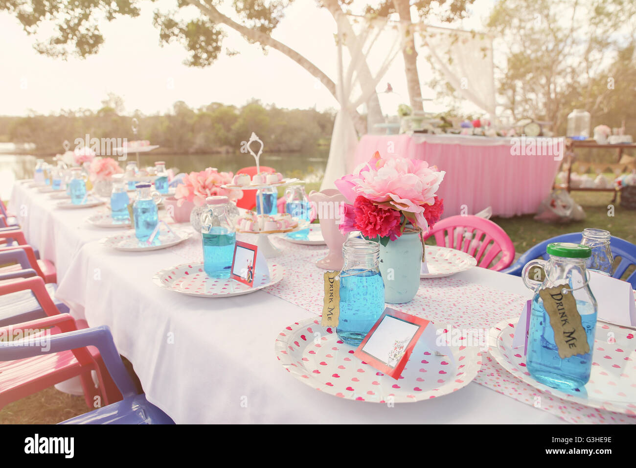 Alice in wonderland Mad Hatters tea party table setting,toning Stock ...