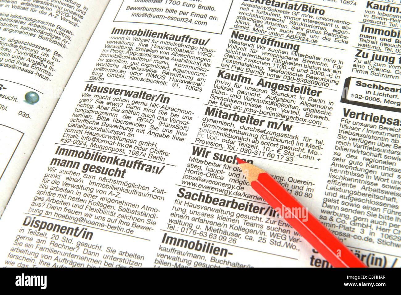 Tageszeitung, Stellenmarkt, Anzeigen - Stock Image