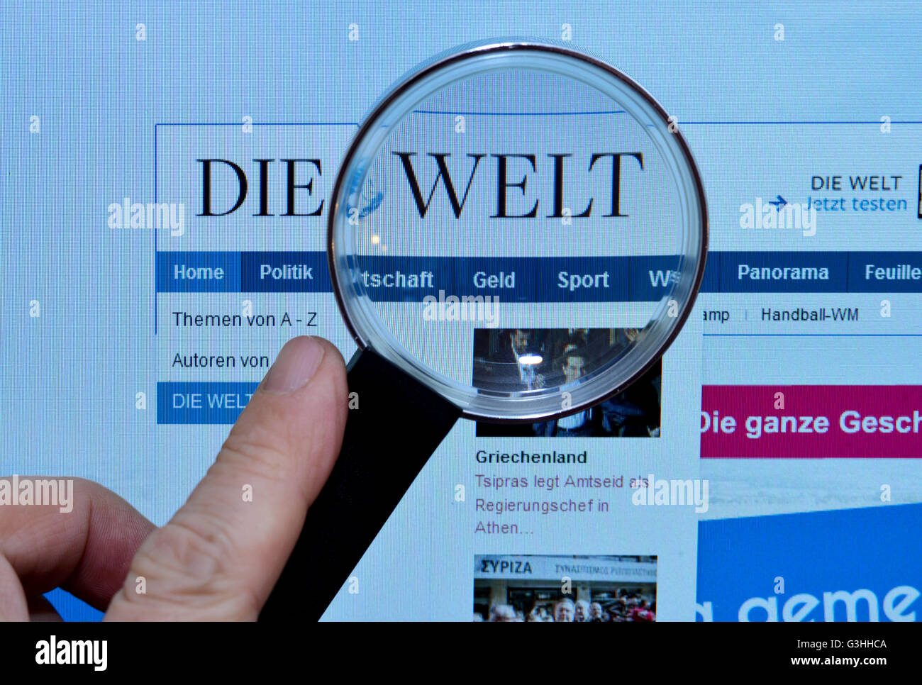 Bildschirm, Internet, Lupe, welt.de, Die Welt - Stock Image