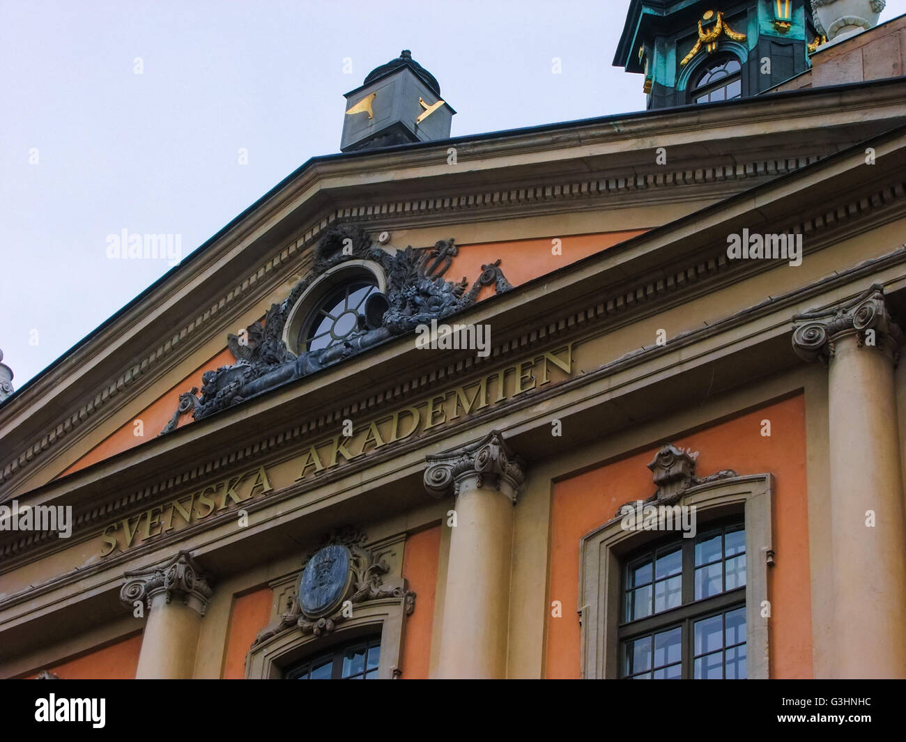 Svenska Akademien, the cultural institution located at old town area of Stockholm, Sweden. - Stock Image
