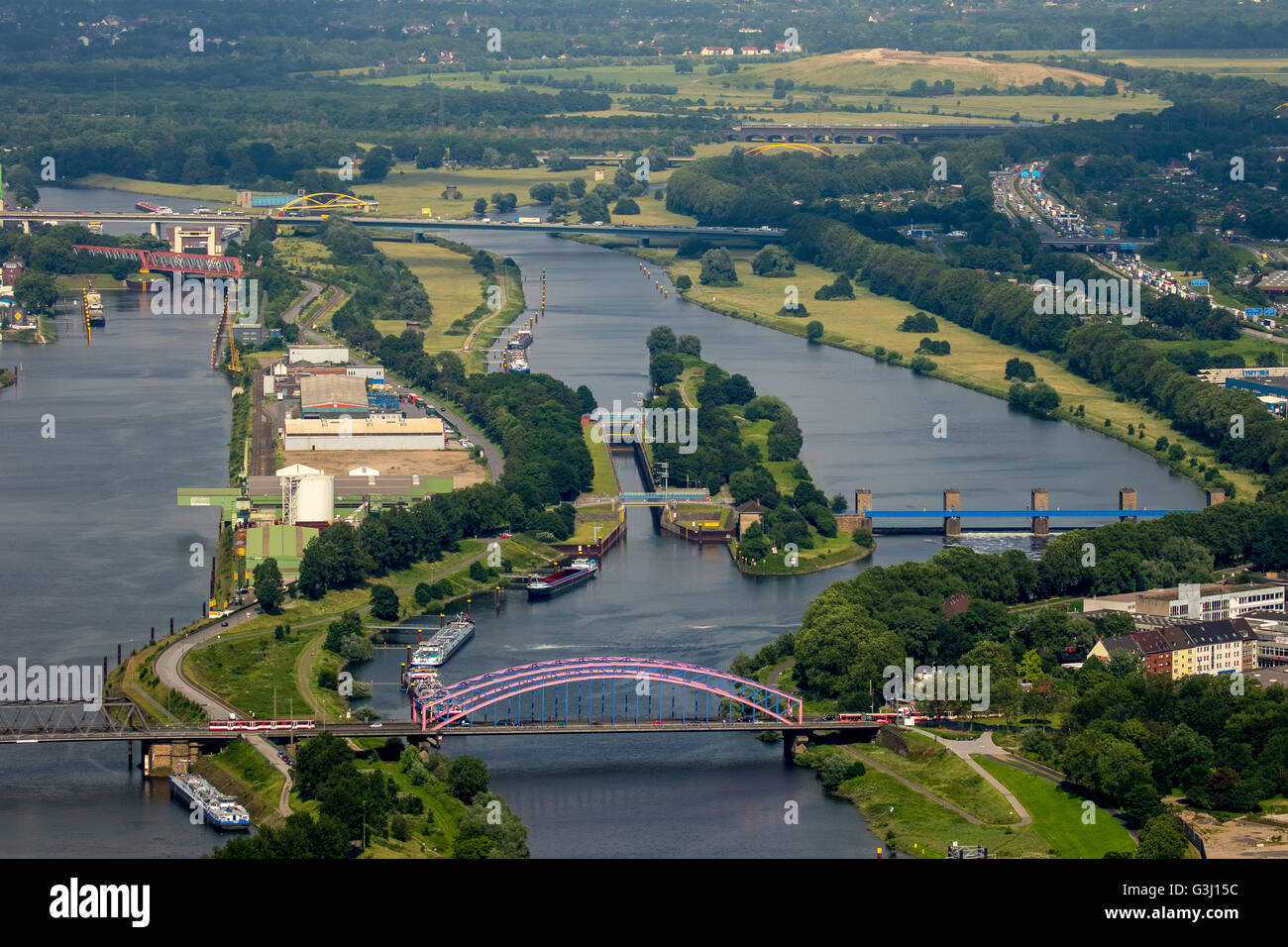 Aerial view, lock, Ruhr sluice and harbor channel Duisburg, Mayor instructional bridge, Ruhr, Duisburg, Ruhr region, - Stock Image