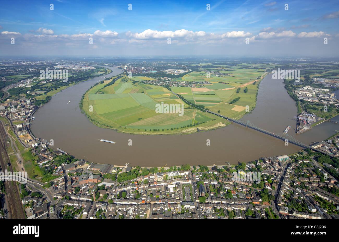 Aerial view, Rhine bridge between Krefeld-Uerdingen and Duisburg-Mündelheim, Rheinbogen, Rheindeich, flood - Stock Image