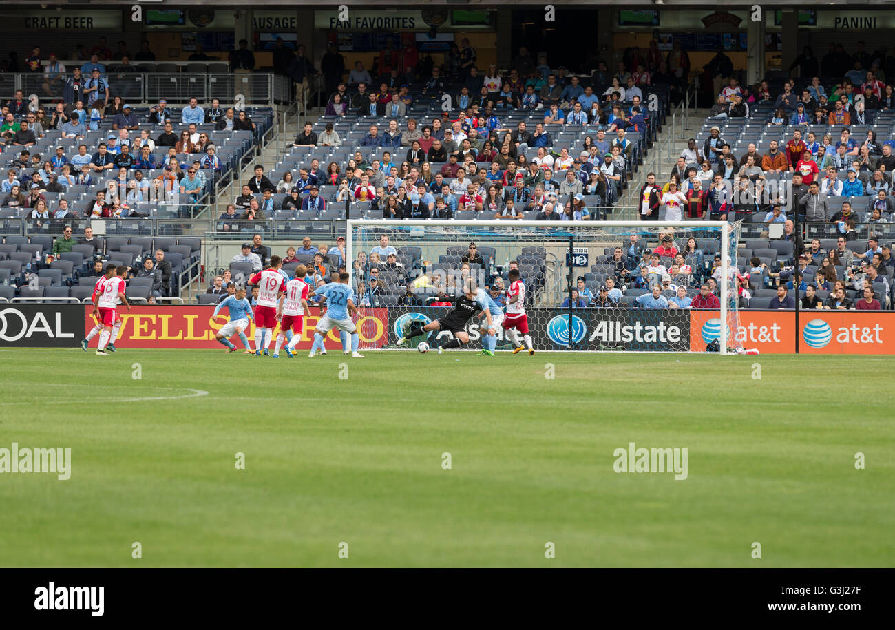 Gideon Baah (3) scores 7th goal at MLS game NYC FC against Red Bulls at Yankee stadium. Red Bulls won 7-0. (Photo - Stock Image