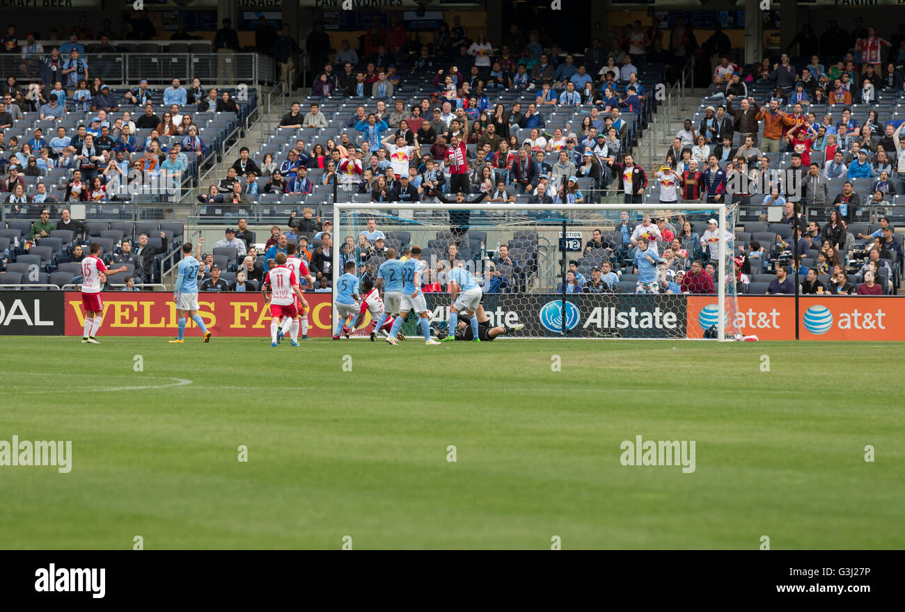 Gideon Baah (3) scores 7th goal at MLS game NYC FC against Red Bulls at Yankee stadium. (Photo by Lev Radin / Pacific - Stock Image